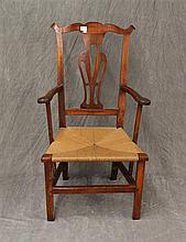 Chippendale Armchair, Mixed Woods, Splat Back with Rush Seat, Strercher Base with Ended Out Feet, 44