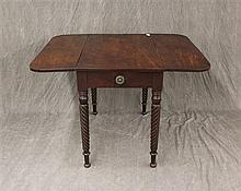 Drop Leaf Breakfast Table, Walnut, Single Drawer, Turned Legs, 29