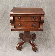 Empire Worktable, Mahogany, Two Drawer with Scrolled Feet, some Scratching and Chipping, 30 1/4