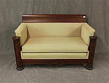 Empire Style Box Love Seat, Mahogany Shell Carved and Twil Upholstered, Some Discoloration 33