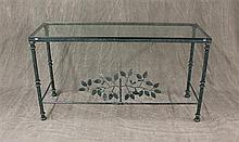 Sofa Table, Green Enameled Wrought Iron with Glass Insert and Leaf Motif, 27 1/2