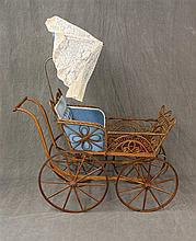 Antique Children's Carriage, Fancy Wicker Frame, (Scroll Work), Metal Rimmed Single Spoke Wooden Wheels and Parasol, 38