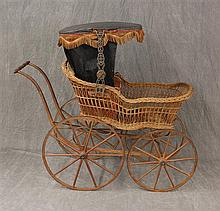 Antique Children's Carriage, Wicker Body with Moveable Oil Cloth Covered Canopy with Tassel Trim, Side Pieces, Metal Rimmed Single S..