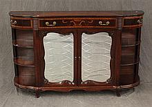 Demilune Sideboard, Mahogany with Inlay, Mirrored Doors, Open Shelves, 59 1/2