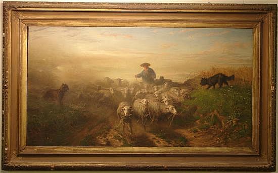 August Friedrich Albrecht Schenck, 1828-1901, Danish, Shepherd Tending his Flock, Oil on Canvas on Board.