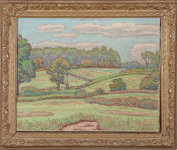 Joseph B. Grossman Country landscape, oil on
