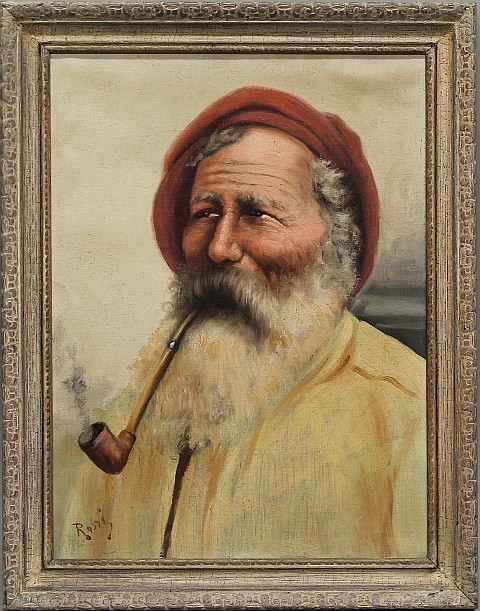 Old Man with Long Pipe by Rassi - O/C