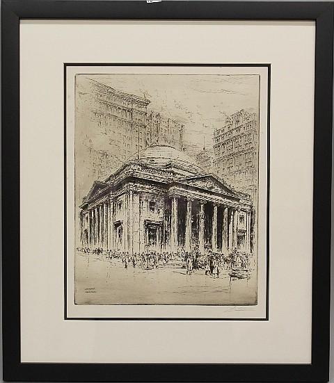 Framed Etching - Philadelphia Library by Paul Gaissler