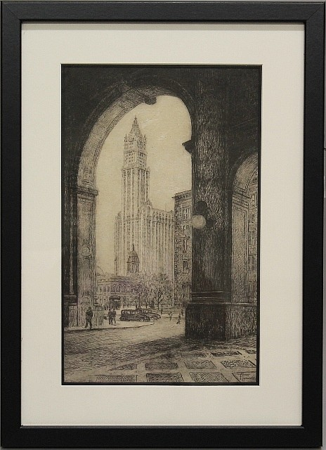 Framed Etching - Woolworth Building, NYC by Faith Yankivez