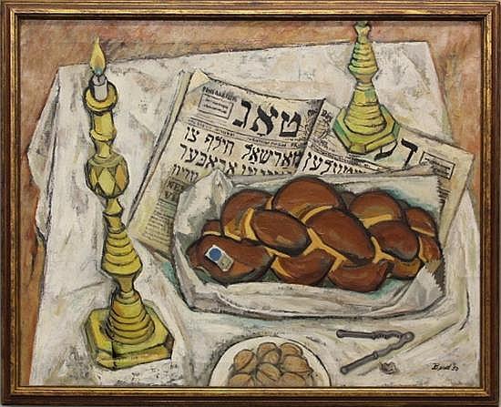 Judaica Still Life by Morris Berd - O/C