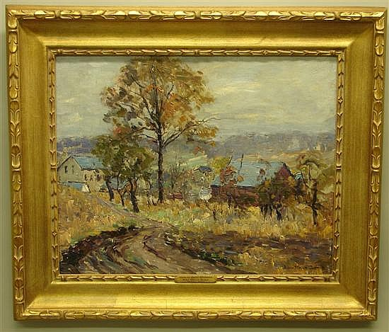 John Wells James, 1873-1951, Pennsylvania/New York View of Point Pleasant Oil on canvas.