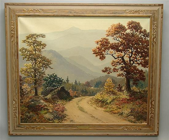 Ruthven Holmes Byrum, 1896-1958, Indiana Smoky Mountain Oil on canvas.