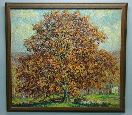 Samuel G. Phillips, 1890-1965 Solebury Tree Oil on canvas.