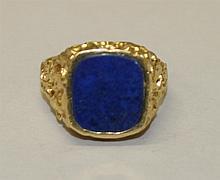 18K Yellow Gold, Lapis Ring