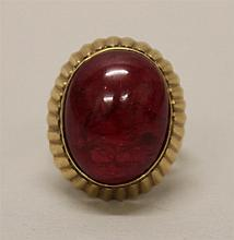 14K Yellow Gold, Ruby Red Cabochon Ring