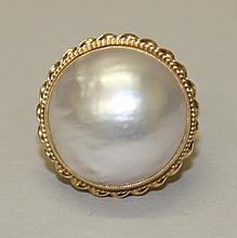 14K Yellow Gold, Mabe Pearl Ring