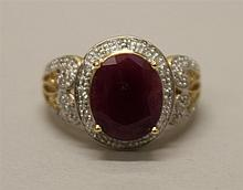 14K Yellow and White Gold, Ruby and Diamond Ring
