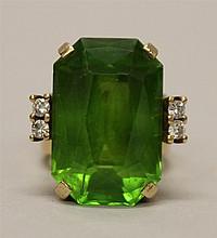 10K Yellow Gold, Peridot Green Stone with Diamond Ring