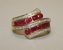 10K Yellow and White Gold, Ruby and Diamond Ring