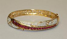 Sterling with Gold Tone Plating, Ruby Type with Diamond Bracelet