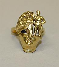 18K Yellow Gold, Sterling Silver, Figural/Head with Sapphire, Ring