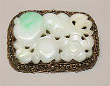 Silver with Gold Wash, Jadeite Pin