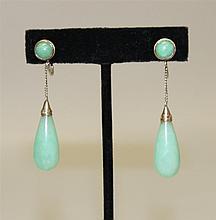 14K White Gold, Jade Drop Earrings