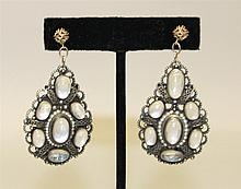 14K Yellow Gold, Silver, Moonstone and Seed Pearl Earrings