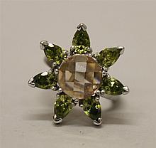 Sterling Silver Sunburst Design, Peridot and Checkerboard Stone Ring
