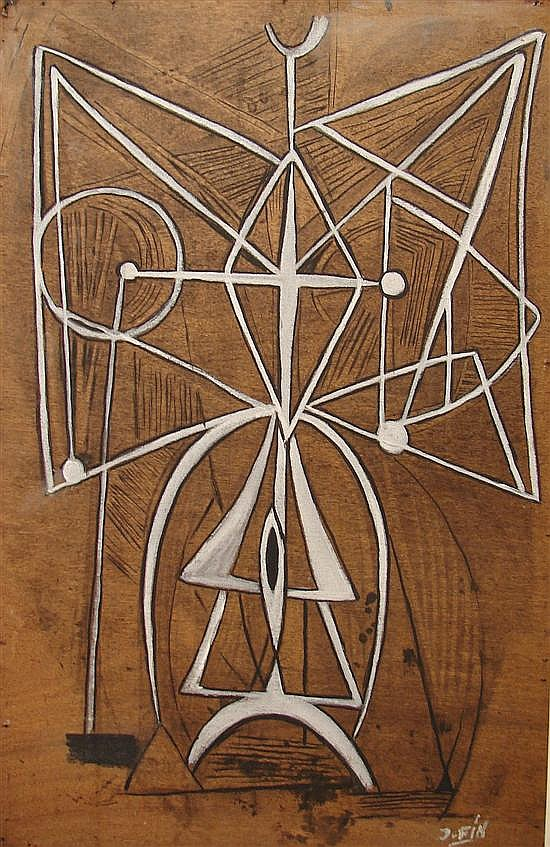 Jose Fin. Modernist composition of a woman, oil on board, 39 1/2