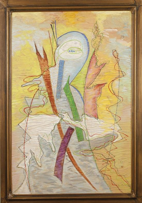 Joseph Meierhans. Modernist composition, oil on textured board, 48