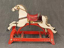 Rocker Horse, Glider on Red Base, Red Saddle, Hair on Mane and Tail, 30