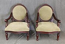 Pair of  Mirror Back Open Arm Chairs, Mahogany with Light Green Velvet Upholstery, (One Chair Has Staining), 42 1/2