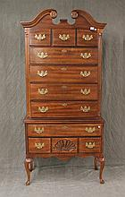 Queen Anne Style Highboy, Cherry, Shell Carved Bottom Drawer, Cabriole Legs, Good Condition, (No Finial), 80