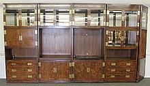 Henredon, Entertainment Cabinet, Glass and Lighted Shelving, Brass Handles and Fittings (Missing Shelf Brackets), 84