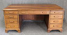 Partner's Desk, Walnut, Two Insert Writing Surface, Three Drawers over Six Fitted Frieze Drawers on Shaped Bracket Feet, 31