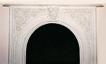 Victorian Architectural Fireplace Mantle, White Marble, 64