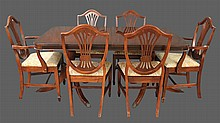 7 Piece Dining Room Suite, Mahogany, (1) Dining Table on Two Triple Pedestals, Reeded Legs and Brass Paw Caps 29 1/2