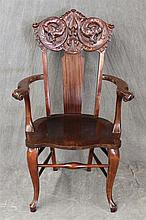 Arm Chair, Mahogany, Carved Crest, Saddle Seat with Scrolled Arms on Cabriole Legs, (Good Condition), 44