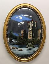 Reverse Painting on Glass, Giltwood Framed, 22