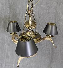 Chandelier, 3 Light, Ram Horned and Brass, 28