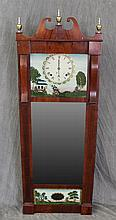Wall Clock, Mahogany, Broken Arch Pediment, Three Finials, Reversed Painted, Mirrored, 8 Day Works, 56