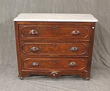 Victorian Chest of Drawers, Walnut, Marble Top on Casters, 33 1/2