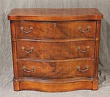 Serpentine Small Chest of Drawers, Mahogany, Three Drawers with Fluted Columns on Plinth Base, 30