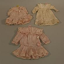LOT OF (3) GERMAN REPRODUCTION DOLL DRESSES FOR ANTIQUE BISQUE DOLLS. (2) Cotton - 8 1/2