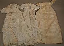 LOT OF (3) FANCY WHITE COTTON ANTIQUE BABY GOWNS/DRESSES. 1- 39