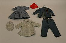 LOT OF ANTIQUE/VINTAGE DOLL CLOTHING - CHAMBRAY DRESS, DENIM JACKET/PANTS, WOOL COAT/HAT, GLOVES. 10