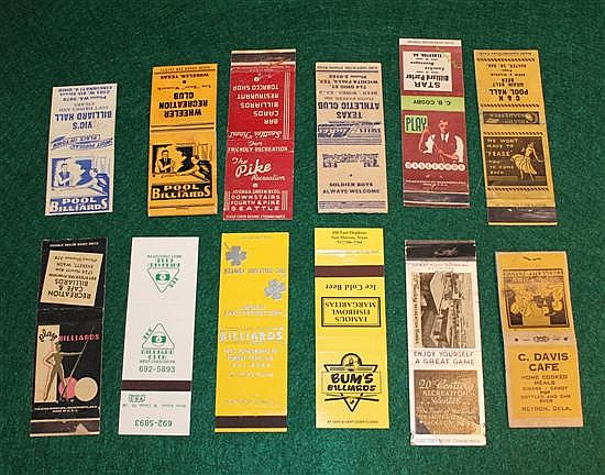 Lot of 12 pc. Misc Matchbooks, Advertising, Pool Halls