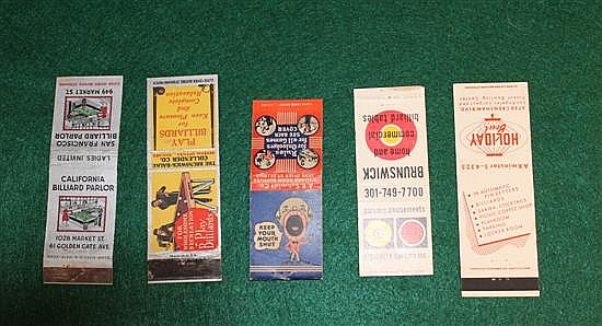Lot of 5 pc. Advertising Matchbooks, Brunswick, A.E.Schmidt
