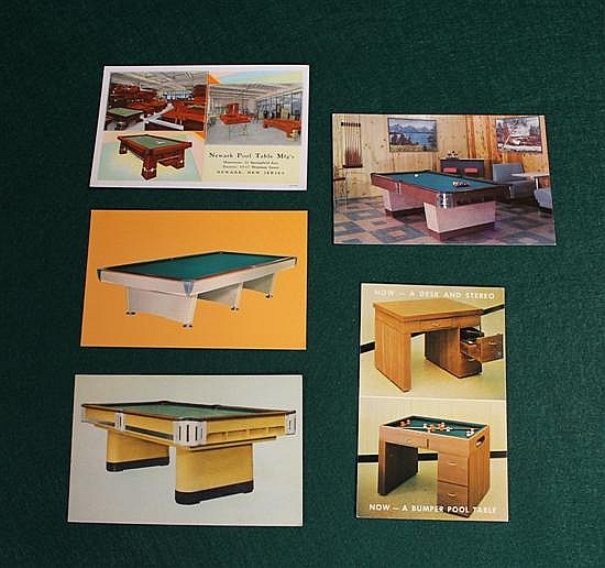 Lot of 5 pc. Manufacturers photo ads of pool tables